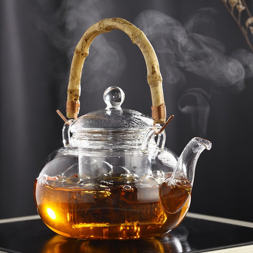 Glass 600ml bamboo joint lifting handle teapot with infuser glass pot