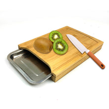 Load image into Gallery viewer, Bamboo Cutting Board with Stainless steel Tray, Easy Waste Removal & Faster Food Prep Time