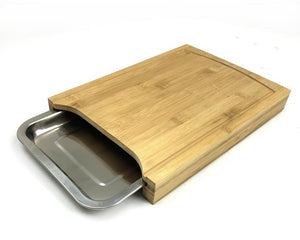 Bamboo Cutting Board with Stainless steel Tray, Easy Waste Removal & Faster Food Prep Time
