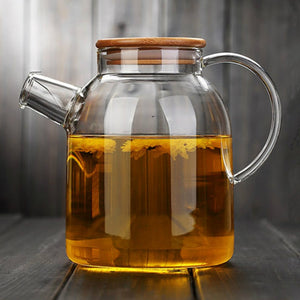Glass Teapot, large capacity:  1000 ml or 1800 ml,  heat-resistant, filter flower, bamboo cover