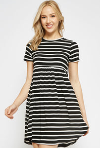 Black and White Stripe Dress In Our Online Boutique Store Oak&Pearl