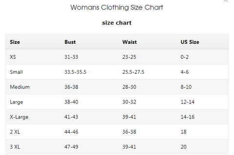 womens clothing size chart for online shopping at oak&pearl clothing co