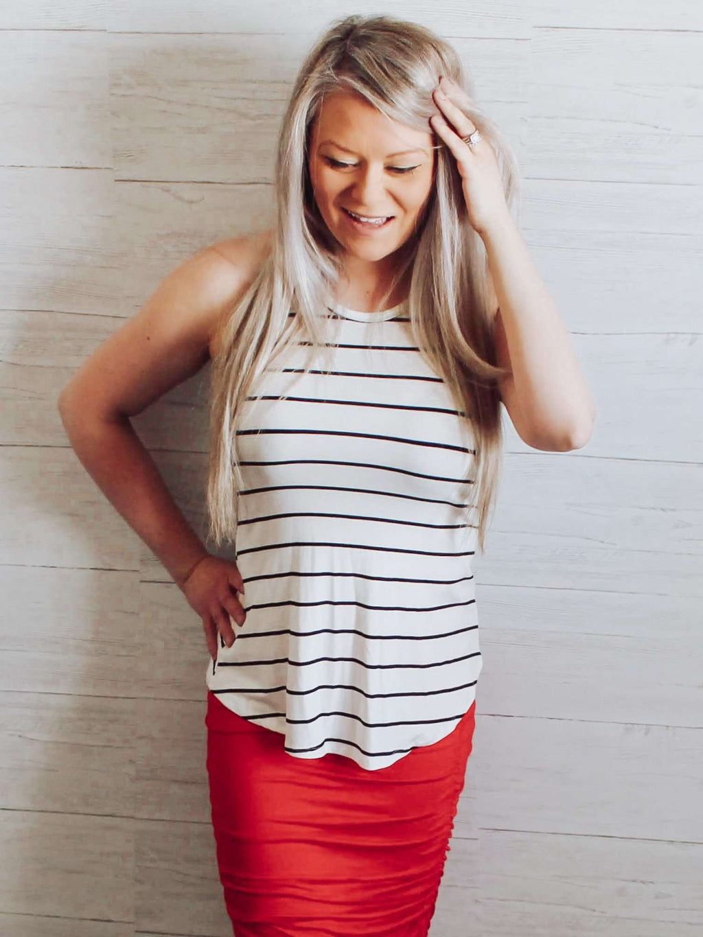 Online Boutique Store Ivory Black Stripe Halter Summer Tank Top