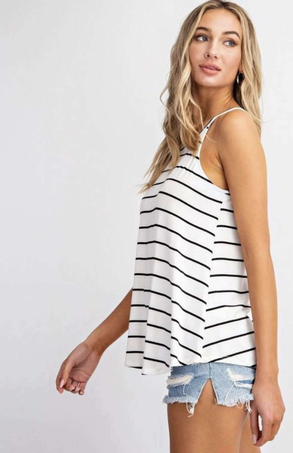 white with black stripe halter style tank top for womens modern casual styles