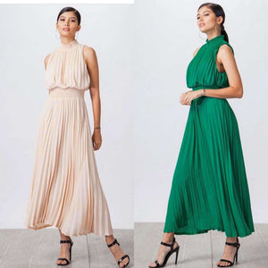 Gabby Green Pleated Maxi Dress with Smocked Waist