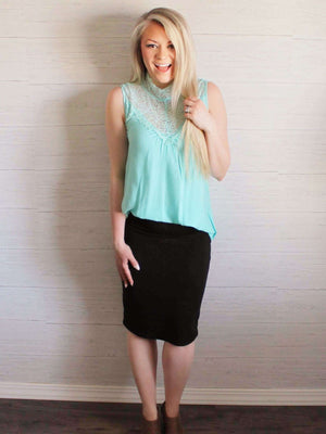 Lena Aqua Sleeveless Tank Top With Lace Neckline Boutique Shirt Style