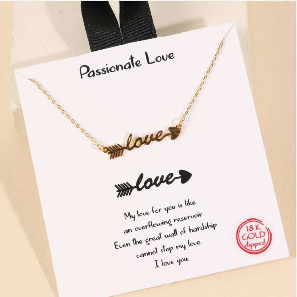 Boutique Style Script Love Arrow Necklace Gold
