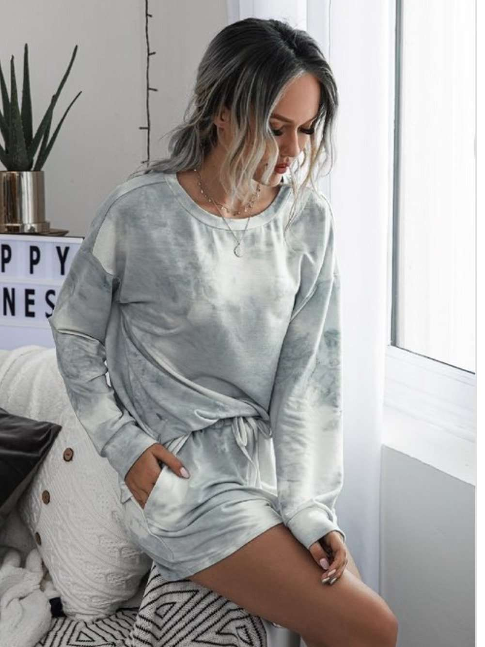 Grey Tie Dye Short Set