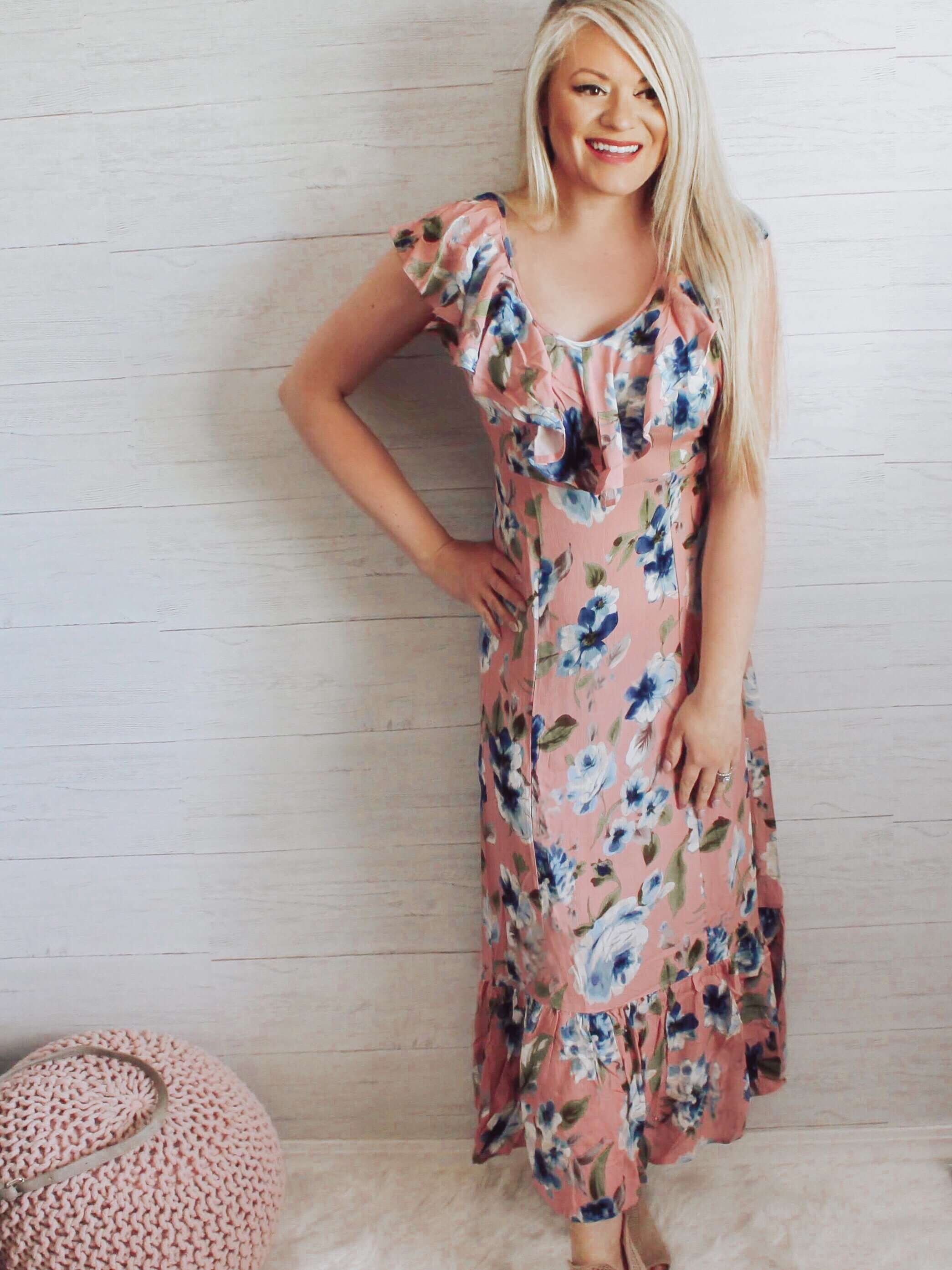 Canada Online Dress Boutique Maddy Pink Floral Ruffle Long Dress
