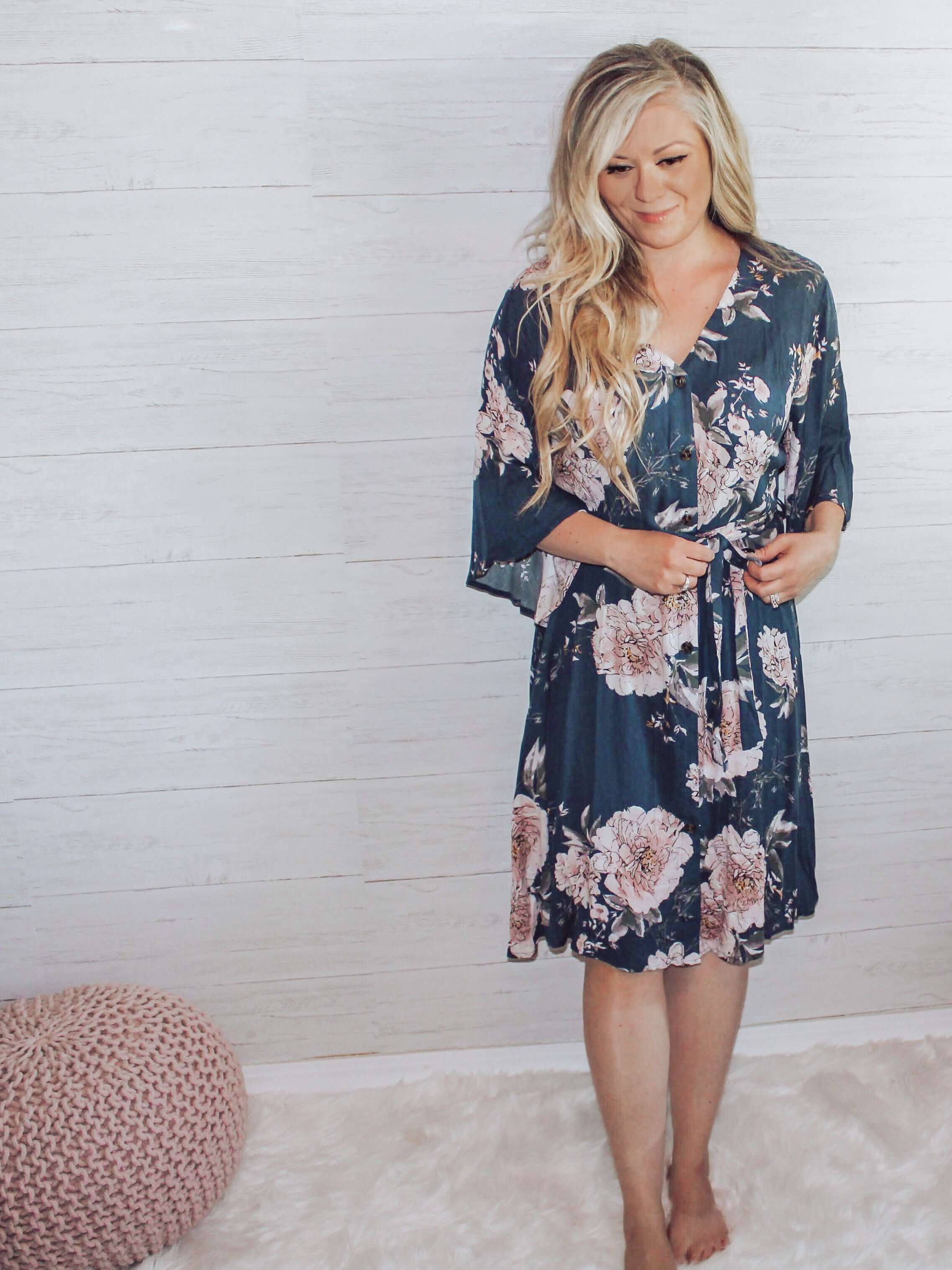 Khloe Navy and Blush Floral Button Front Dress