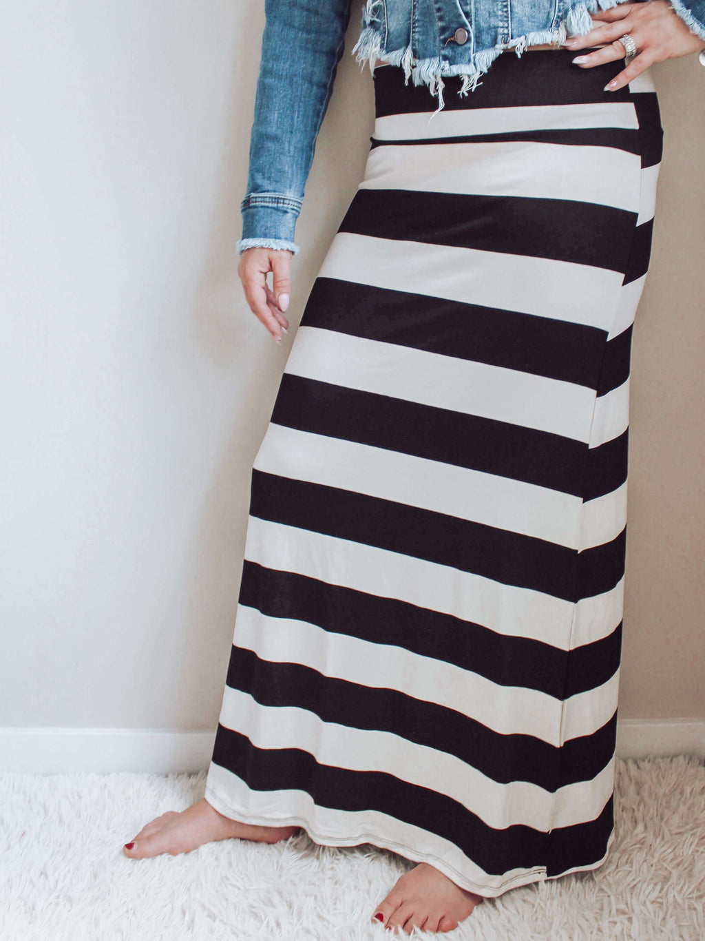 Boutique Clothing Black White Stripe Maxi Skirt with Black T Shirt