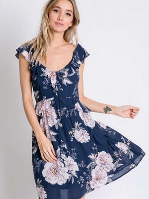 Khloe Navy and Blush Floral Off The Shoulder Dress