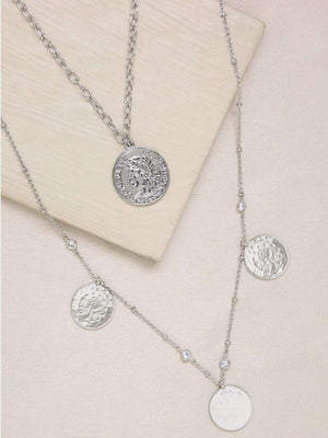 Coin and Crystal Layered Necklace