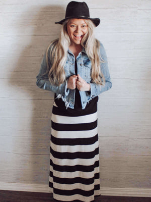Boutique Clothing Stripe Maxi Skirt with Black T Shirt