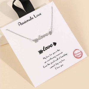 Boutique Style Script Love Arrow Necklace Silver