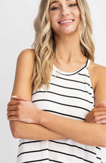 up close white with black stripe halter style tank top for womens modern casual styles