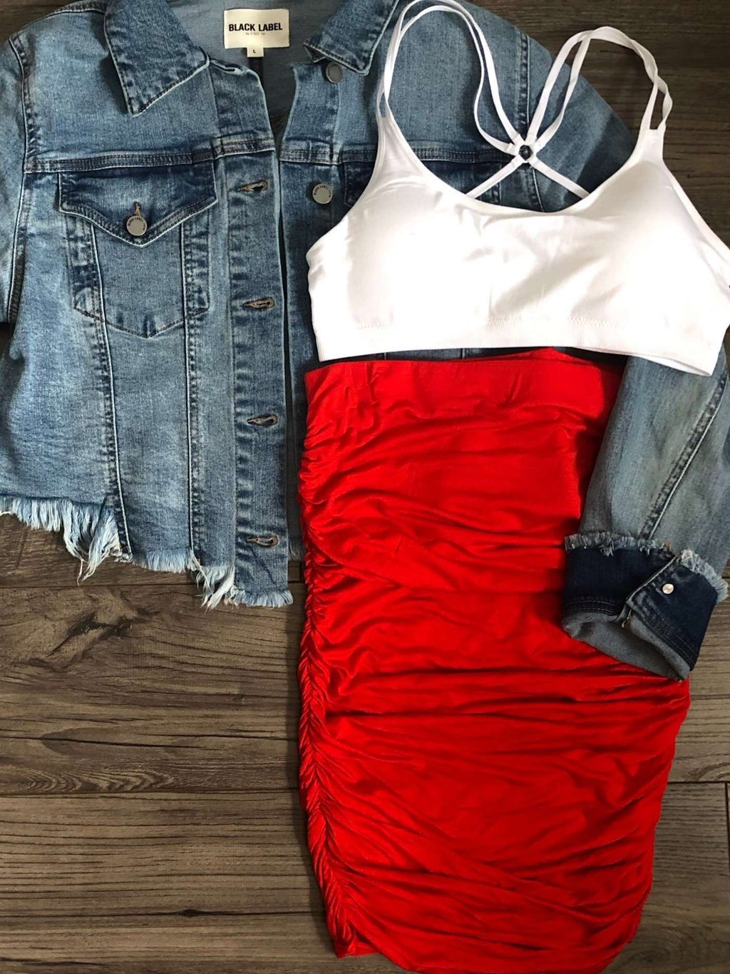 Red Jersey Skirt Boutique Clothing Style with Side Ruching and White Sports Bra with Denim Jacket
