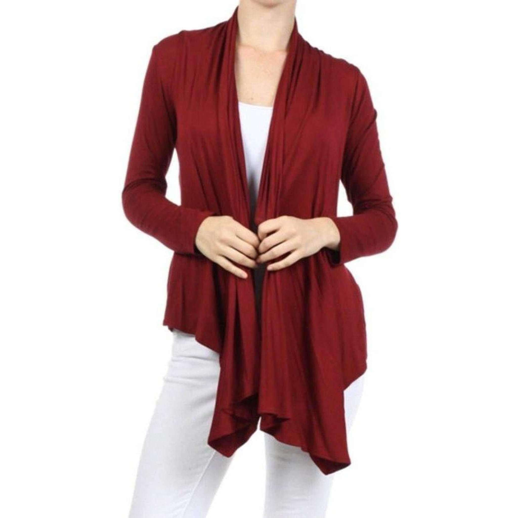 Womens Clothing Open Front Cardigan Red Maroon Angled Hem Front View