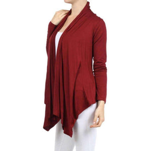 Womens Clothing Open Front Cardigan Red Maroon Angled Hem Side View