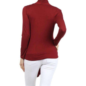 Womens Clothing Open Front Cardigan Red Maroon Angled Hem Back View