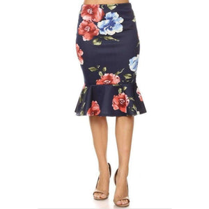Womens Clothing Mermaid Style Skirt in Navy with Red Floral Print Modern Style