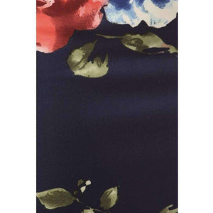Womens Clothing Mermaid Style Skirt in Navy with Red Modern Floral Print Fabric Swatch