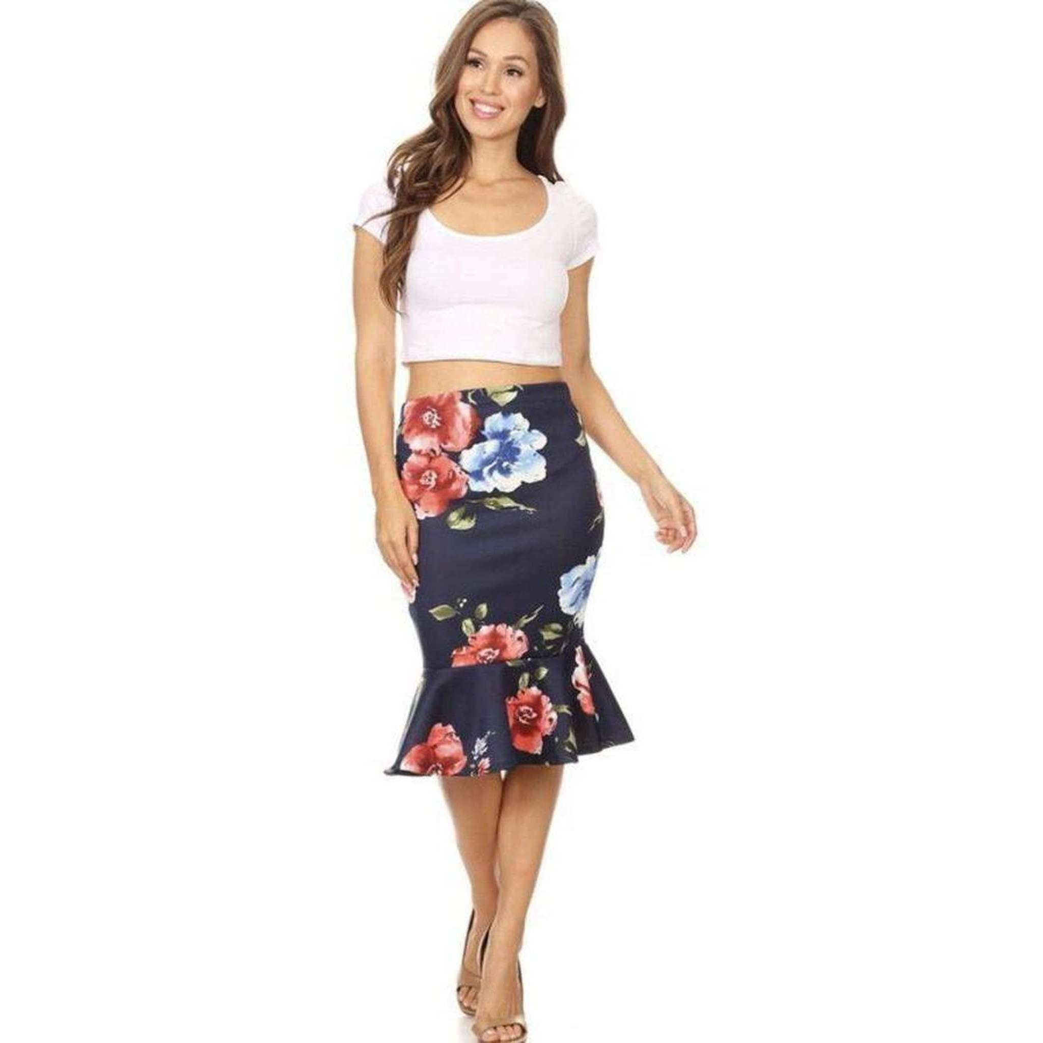 Womens Clothing Mermaid Style Skirt in Navy with Red Floral Print