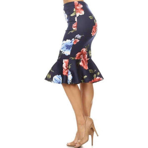 Womens Clothing Mermaid Style Skirt in Navy with Red Floral Print Side View