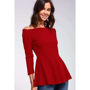 Red Off The Shoulder Poppy Peplum Top Shop Womens Cute Clothing Canada