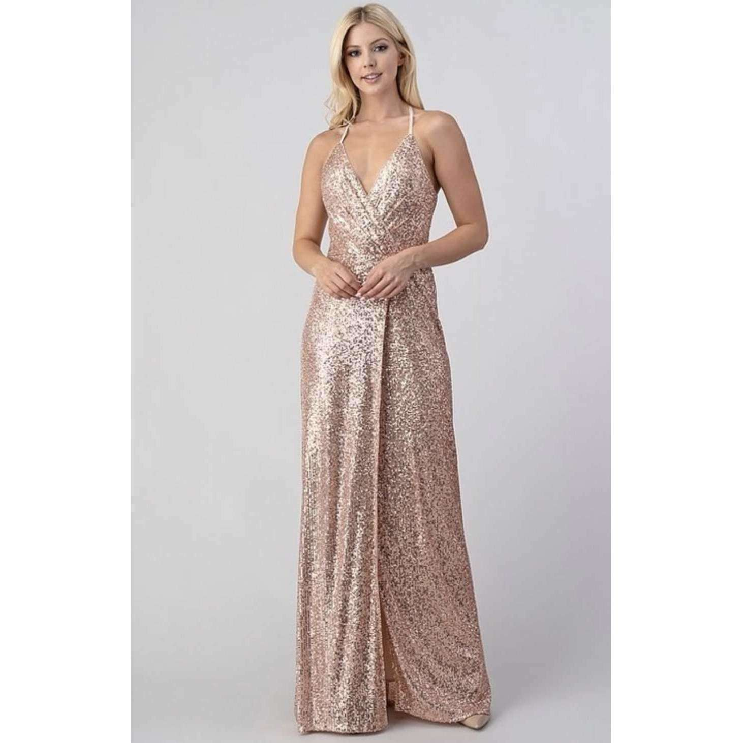 Long Rose Gold Sequin Sparkle Glamorous Party Dress Boutique Online Store