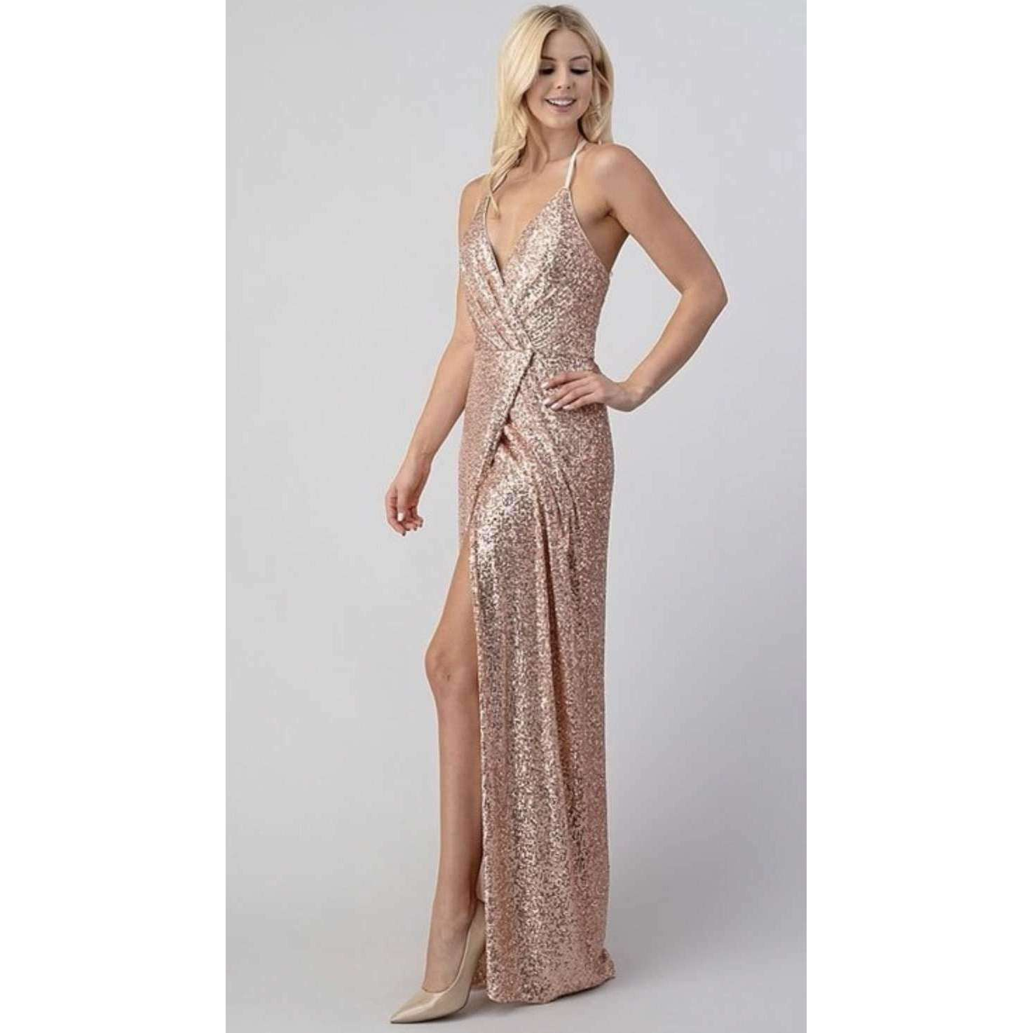 Rose Gold Sequin Dress For Parties and Events Online Dress Boutique