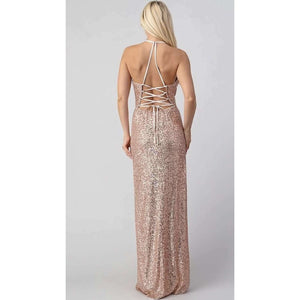 Rear View of Rose Gold Sequin Party Dress Boutique Online Store