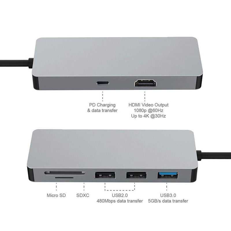 SWE-703  7-in-1 USB C Hub to HDM 4K 30Hz Ethernet, 3.1 USB Type C Adapter Dongle for 2016/2017 Macbook Pro 7in1 Combo Pass - amazon-2u (2062705983603)