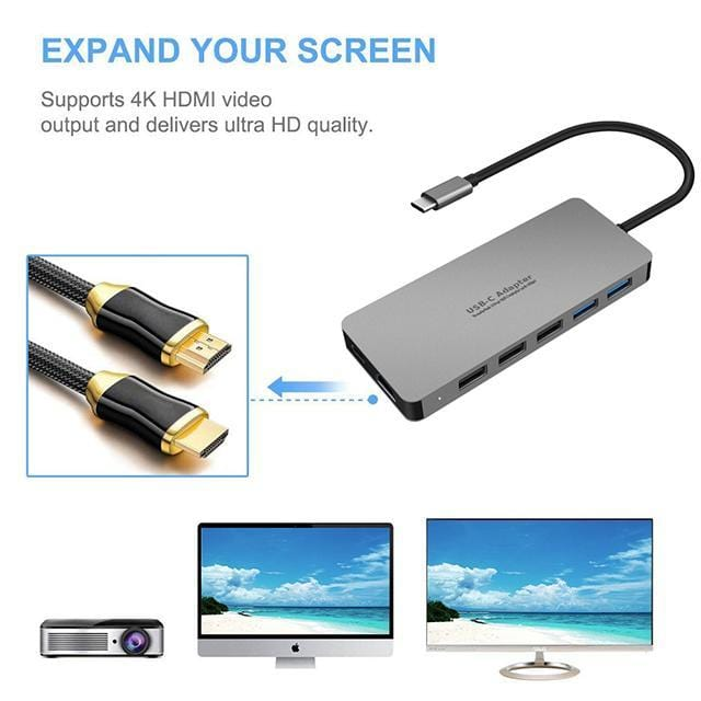 SWE-706 - Aluminium alloy 11 in 1 USB C Adapter type c hub good quality 2019 new item - amazon-2u (2062812643443)