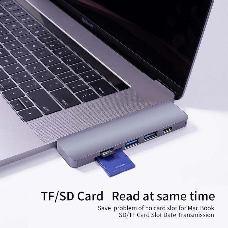 SWE-702  5-in-2 Type C Hub with PD charging+SD/TF Card Reader/USB 3.0 For MacBook Pro - amazon-2u (2062133493875)