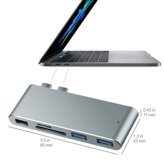 USB Type-C adapter Thunderbolt 3 PD, USB3.0, SD Till MackBook Pro (4468776403025)