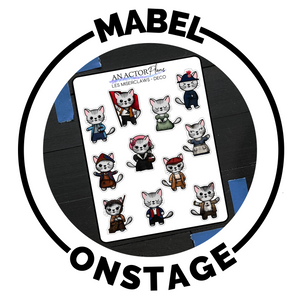 Mabel the theatre cat dressed up as famous characters on broadway on planner stickers hand drawn by melissa crabtree, an actor plans