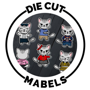 die cut planner stickers of mabel the cat hand drawn by melissa crabtree - an actor plans