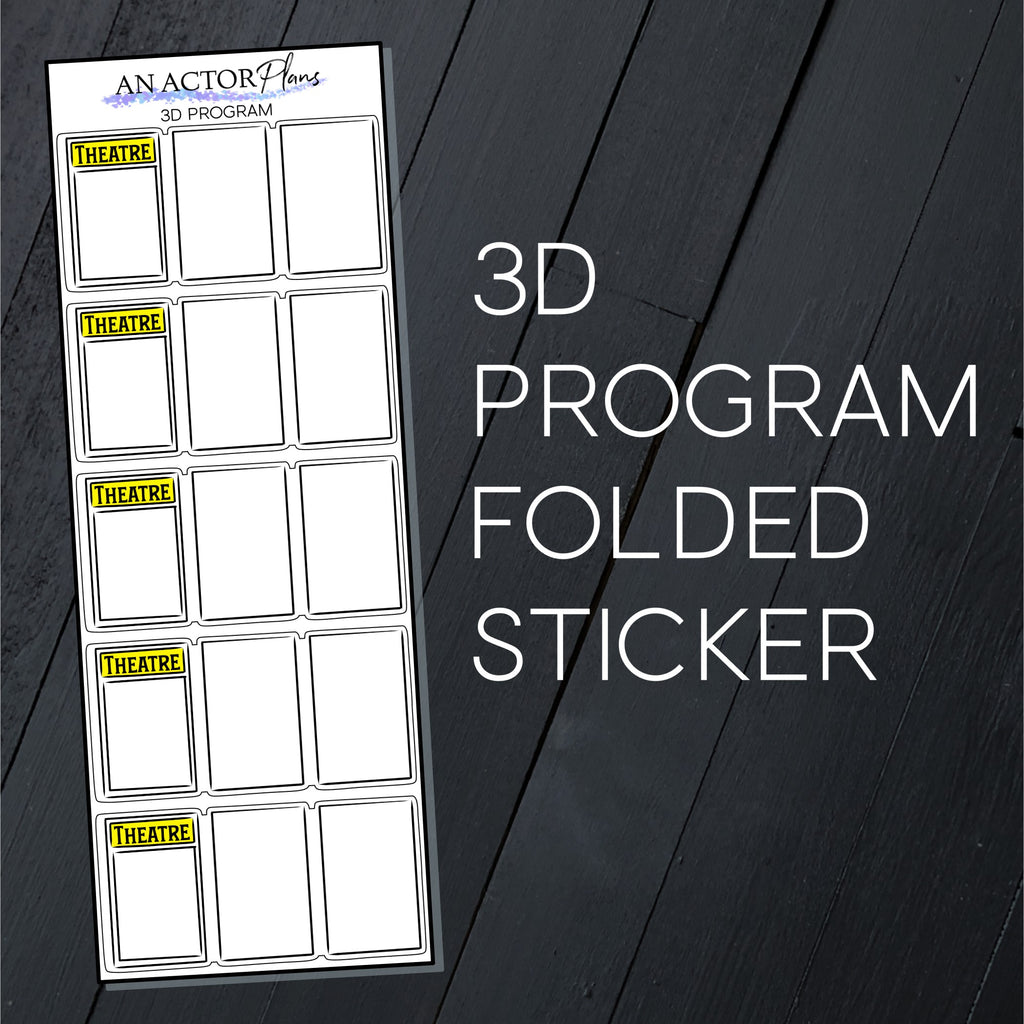 Broadway Program // 3D Folded // Sticker Sheet