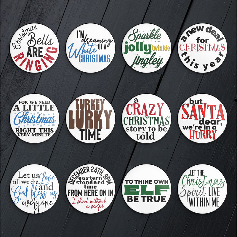 Holiday Quotes // Pin or Magnet Button Set
