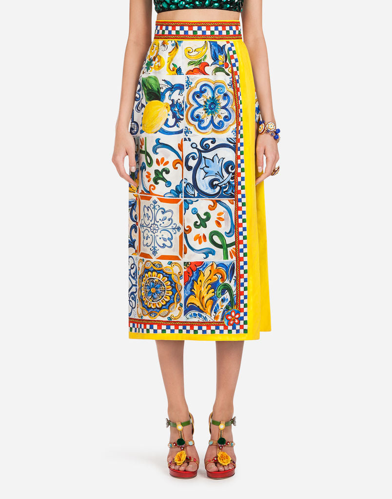 uk cheap sale elegant in style save up to 60% Dolce Gabbana Majolica 2 Piece Skirt & Crop Set