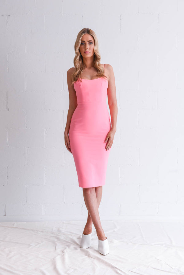 Alex Perry Zane Stretch Singlet Dress in Neon Pink