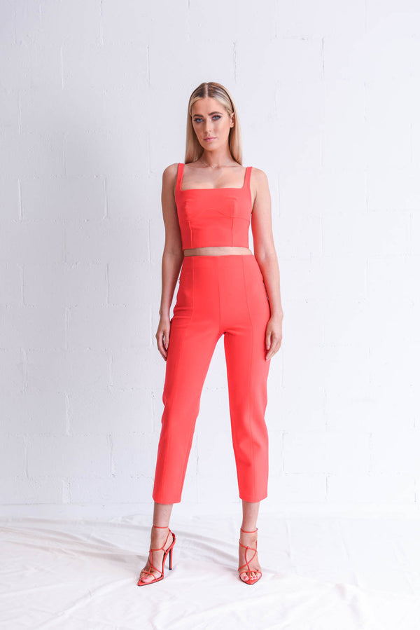 Dion Lee Acid Red Pant & Crop Set Hire