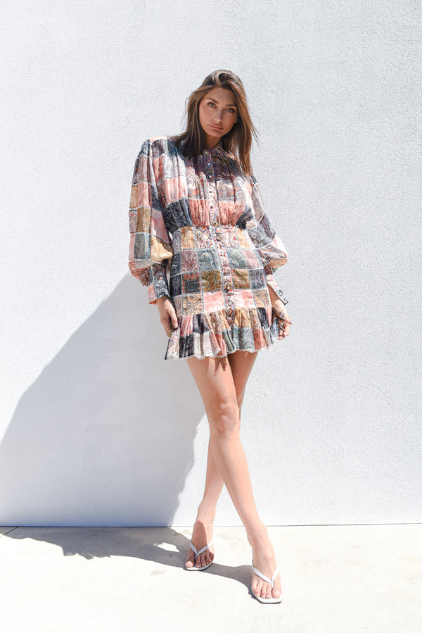 Zimmermann Ninety-Six Patchwork Mini Dress