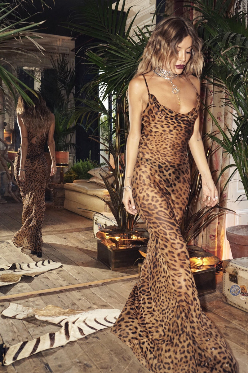 Rat & Boa Valentina Leopard Silk Maxi Dress