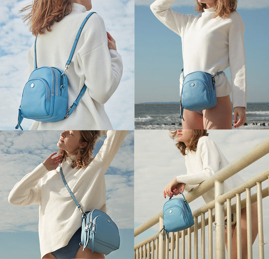 versatile convertible functional sunrise bag- wear as backpack, crossbody, belt bag and top handle.