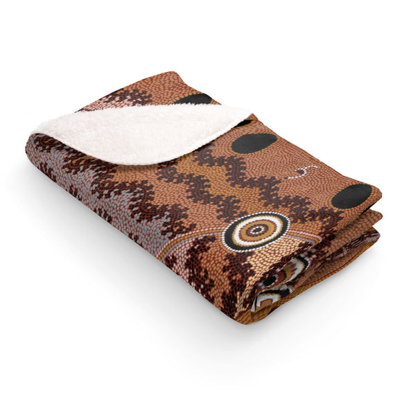 Traditional Aboriginal Art Designed Sherpa Fleece Blanket