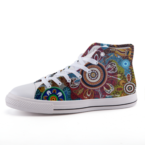 Custom Contemporary Aboriginal Art Design Print High-top fashion canvas shoes