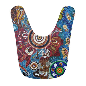 Contemporary Aboriginal Art Designed Print Fleece Baby Bib