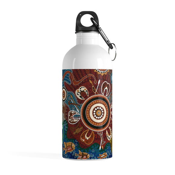 Stainless Steel Water Bottle -  Aboriginal Art Designed Print